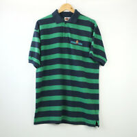 Vintage Looney Tunes Striped Polo Shirt in Green / Navy with Tasmanian Devil on