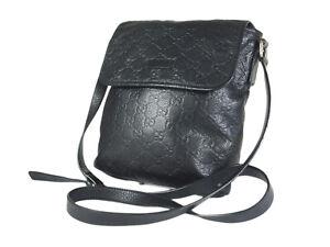 Gucci Guccissima Leather Black Crossbody Messenger Bag GS2633