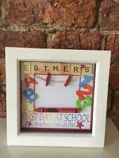 Personalised 'First Day at School Photo' Scrabble Tile Art Box Frame Gift