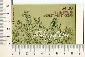 41217) AUSTRALIA 1990 MNH** QEII 43c (x10) Flowers Booklet  - 10 stickers