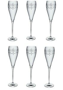 Set of 6 Etched Champagne Flutes Gift Glasses Clear Boxed 28cm Drinking Grace