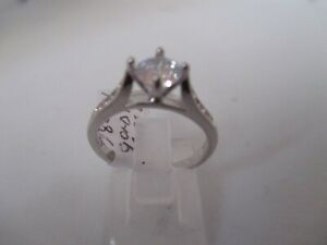 18KT WHITE GOLD and SILVER SOLITAIRE WITH ACCENTS WHITE TOPAZ RING SZ Q1/2