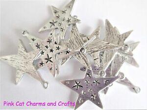 10 x Tibetan Silver STARRY STARS 30mm Charms Pendants Beads