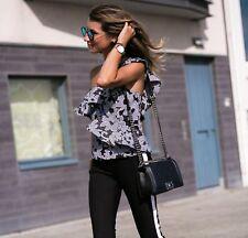 Zara Ruffled Lace Top Jacquard Black White Floral Blouse Size S 8 UK 36 EU 4 US