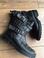 Office Black Studded Biker Active Wear Ankle Boots 7 40