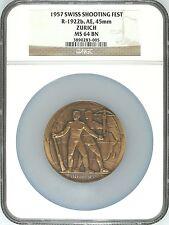 Swiss 1957 Bronze Shooting Medal Zurich 50th Anniv. Archer R-1922b NGC MS64 Rare