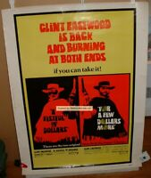 CLINT EASTWOOD MOVIE POSTER #1 Vtg 30x40 A FISTFUL OF DOLLARS COMBO Leone US R69