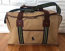 POLO Ralph Lauren Canvas Duffel Bag Weekender Overnight Gym Bag Beige  20