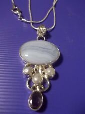 "Gorgeous Blue Lace Agate, Pearl & Amethyst .925 Silver Pendant w/20"" Necklace"