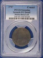 1787 Connecticut Copper. Mailed Bust Left. PCGS VG Details. ET1541A/JCN