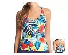 JAG Designer Red Blue Yellow Floral Bikini Swim Suit Top Bra US S $70