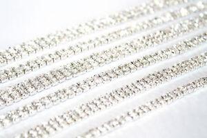 1M x SS12 Rhinestone Diamante Chain Trim Crystal Silver Decoration Crafts DIY UK