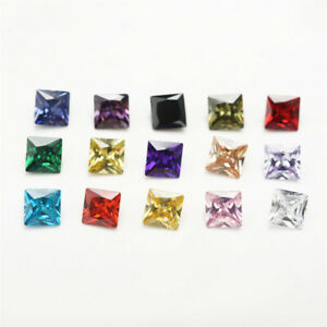 1PCS Per Colors Total 15pcs Size 3x3~10x10mm Square Shape Loose Cubic Zirconia