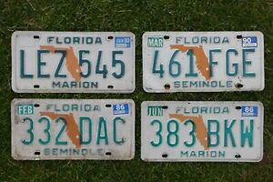 4 original vintage American Florida car License Number Plates USA