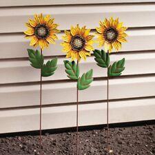 Set of 3 Metal Sunflower Yard Art Outdoor Garden Decor Planter Stake New