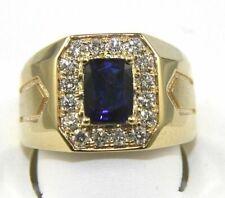Emerald Cut Blue Sapphire & Diamond Solitaire Men's Ring 14k Yellow Gold 2.65Ct
