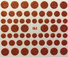 Nail Art 3D Decal Stickers Glittery Red Polka Dots Circles