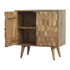 Modern Rustic Scandinavian Solid Wood Cabinet / Cupboard With Hand Carved Doors