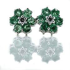 14K White Gold Emerald Halo Diamond Center Floral Stud Earrings