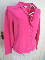EAST Pink Pure SILK Long Sleeve Ruffle Blouse 14 IMMAC CON Career Frill Bohemian