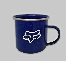 FOX Racing Coffee Mug Tea Cup Vintage Enameled Steel speckled tin Cowboy Ca