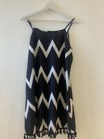 BLACK WHITE TASSEL SUNDRESS S/M or 12 HOLIDAY SUMMER IBIZA MARBS PRETTY FESTIVAL