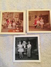 Vintage 1957 Photos (3)  Santa Clause & Boy & Girl ,Christmas