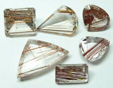 Q-6 Rutilated Quartz red, copper 101.45ct 6 stones, gemsminas Brazil