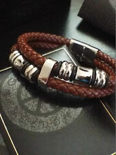 """Mens Stainless Steel Genuine Brown Leather Beaded Bracelet Designer 8"""" Gift"""