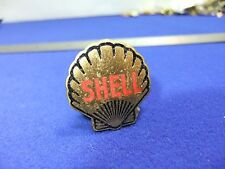 vtg badge shell petrol oil brass enamel advertising staff ? 1930s lapel gaunt