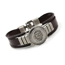 Silver Plated Che Guevara Bracelet Bangle Leather Braided Hand Chain Buckle Brac