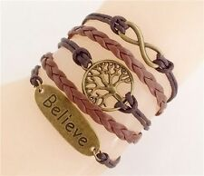 Leather 'Believe' Charm Bracelet Boho Jewellery Gypsy Bohemian Ethnic A106