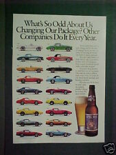 "1989 Chevrolet Corvette Car 1953~1987 Stroh's Beer Bottle 8""x11"" Promo Trade AD"