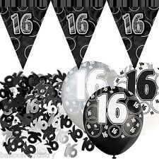 Black Silver Glitz 16th Birthday Flag Banner Party Decoration Pack Kit Set