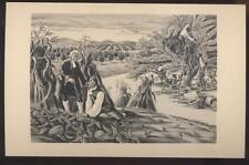 1940s Postcard Hyde Park Ny Post Office Mural #6 Dr Bard Examining Italian Melon