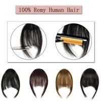 Clip on Fringe Bangs 100% Human Hair Hairpiece Flat Neat Bangs Hair Extensions