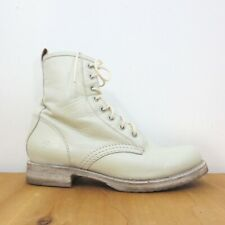 9 - Frye Ivory White Leather Veronica Lace Up Round Toe Combat Boots 1011SC