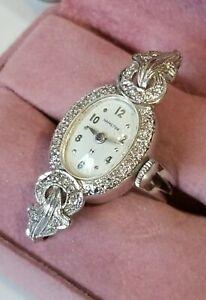 UniQuE! Antique Hamilton 14k White Gold & Diamond Watch Ring sz 6.5 10.6g