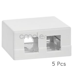 5x Double Hole Surface Mount Keystone Jack Wall Box 2 PortLot Pack NEW
