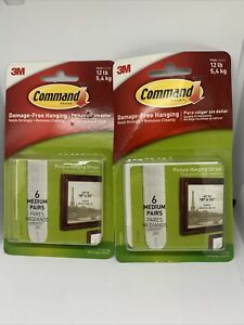 2 Packs of 6 Medium Pairs Command 3M Picture Hanging Strips 12lb White 17204ES.