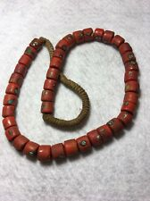 "18"" Vintage Nepal Orange Graduated Mosaic Glass ""Roman Faces"" Trade Bead Strand"