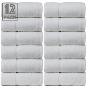 12X PREMIUM Guest Towels 100% Egyptian Cotton White High Hotel Quality 30x50 cm