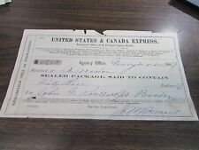 ANTIQUE - UNITED STATES AND CANADA EXPRESS - DELIVERY RECEIPT - 1869