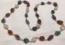 "Vint Mixed Natural Semi Precious Stone  Silver Tone 16"" Long Necklace *"