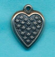 Vintage 1940's Sterling Silver PUFFY HEART ~ STARS and STRIPES Charm