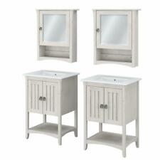 Salinas 48W Double Vanity Set with Sinks and Cabinets in White - Engineered Wood