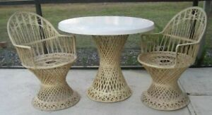 Russell Woodard Spun Fiberglass Patio Set Ivory Color Table And Two Arm Chairs