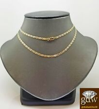 Real Trio-Gold Women's Link Chain with Lobster Clasp and 22 Inches, Diamond Cut.