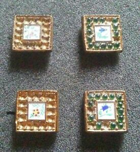 Antique Victorian Enamel Flowers on Black Glass Buttons As Is.
