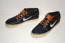Nike SB Men 9.5 Dark Blue Obsidian Leather Stefan Janoski Skateboarding Shoes